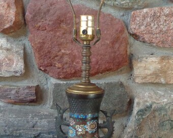 Vintage Asian Oriental Champleve Cloisonne Table Lamp Does Work