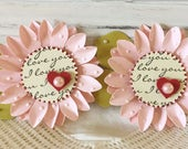 Shabby Pink PolkaDot Red Heart Flower Embellishments set of 2