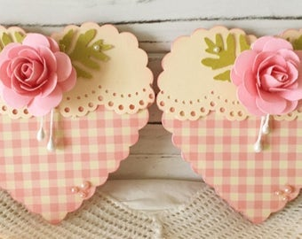 Pink Handmade Rose Flower Heart with Paper Lace Embellishments set of 2