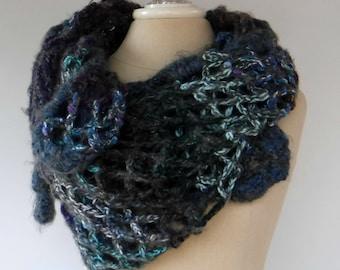 Sale Patchwork crochet scarf, organic triangle shape shawl scarf, Hippie Boho Gypsy layering scarf, winter scarf, shoulder wrap