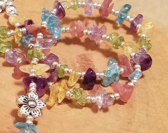 """Spring Blossoms pastel gemstone chip flower necklaces available in three different sizes 16""""  18"""" and 20"""""""