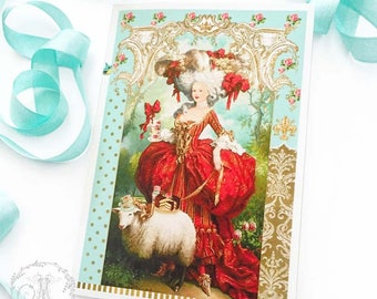 Marie Antoinette card, high tea, French Rococo, birthday card, all occasion card, blank inside