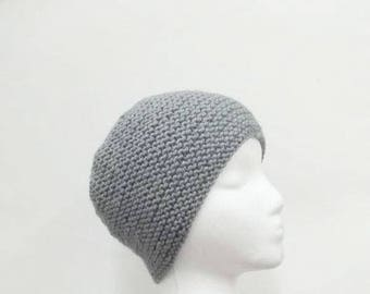 Skullcap, warm beanie, knitted beanie, gray hat      4914