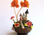 Miniature  Charming Autumn Fairy House Colony in Acorn Cap OOAK by C. Rohal