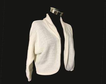 Vintage Womens Sweater, Bolero Cardigan, 1960s, White, Acrylic, Waffle Knit, Shawl Collar, Small