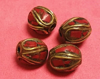 4 pieces 11mm Tibetan Brass Bead with Turquoise and Coral Inlay - 548E