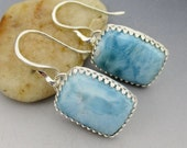 Larimar Sterling Silver Bezel Set Earrings