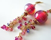 Lampwork Earrings, Hot Pink, Fuschia, Rose, Blue, Gold Beaded Earrings, Gold Etched Chain, Swarovski Crystals, Lampwork Jewelry, OOAK