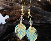 ON SALE Fairy Lights Gold Leaf Earrings