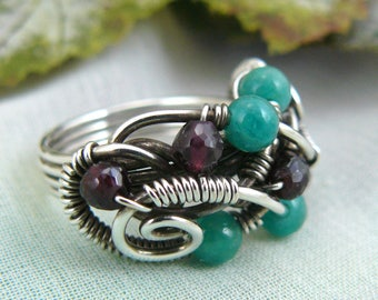 Faceted Garnet and Amazonite Sterling Silver Wire Wrapped Ring
