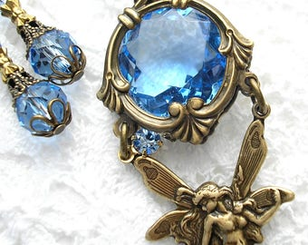 Crystal Blue Water Fairy Necklace - Sapphire Glass Jewel Necklace Set - Fairy Fantasy Necklace