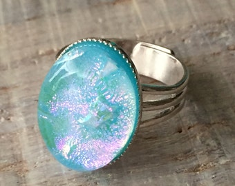 Light Blue Pink Fused Dichroic Art Glass Jewelry Bezel Setting Adjustable Ring FREE shipping