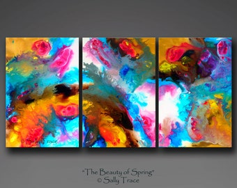 Giclee prints on stretched canvas from my original abstract fluid painting, The Beauty of Spring, pour painting, 36x72 inches