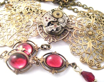 Cascading Ruby Wine  Bow ... Steampunk Filigree Bow Choker, Victorian Steampunk BowTie  One of a Kind Creation