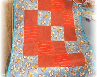 OOP Vintage Curious George All Flannel Fabric Patchwork Toddler Quilt