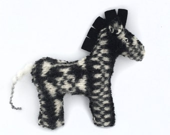 Zebra - Recycled Wool Sweater Plush Toy