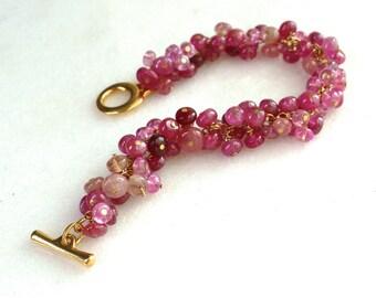 Supreme Pink Hued Sapphire Feminine Focal Cluster Bracelet in Gold...