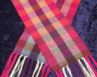 Girls Scarf, women scarf, ladies scarf, plaid scarf, gift,Handmade,Handwoven, For Her, For Girlfriend, For Girl, Present for Her, Presents
