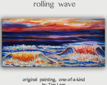 Original mixed Oil paint over Acrylic paint Abstract art Rolling Wave on beach, seascape on gallery wrap canvas by tim Lam 48x24