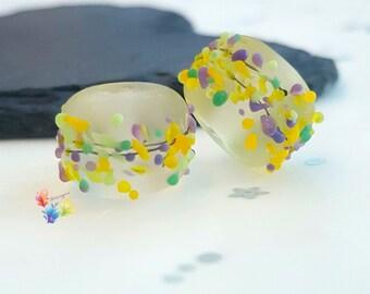 Lampwork Beads Seaglass Springtime Crocus Blossom Pair