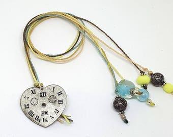 Heart Clock Tag Charm Multi-strand Beaded Bookmark Book Thong