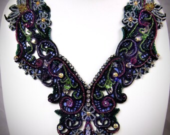 Black Lace Bib Necklace - Victorian Bib Necklace Embroidered Black Necklace Crystal Bib Necklace Lace Collar Necklace Downton Abbey Necklace