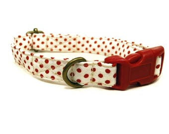 The Sadie - Cream Red Polka Dot Vintage Inspired Organic Cotton CAT Collar Breakaway Safety - All Antique Brass Hardware