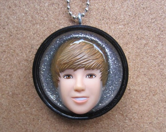 Justin Bieber - upcycled plastic bottle cap pendant