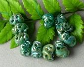 Lampwork beads/glass beads/handmade lampwork/artisan lampwork/sra handmade beads/ twists/organic/teal/metallic/
