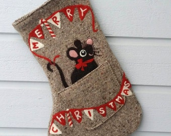 Brown Christmas stocking with needle felted mouse Merry Christmas bunting