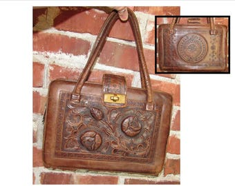 Vintage Tooled Chocolate Brown Leather Handbag Purse from Mexico, 50s, 3D Flowers & Aztec Calendar