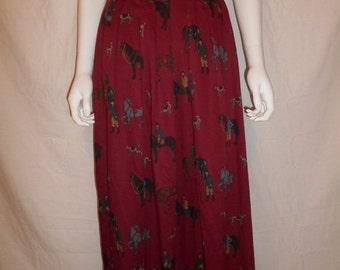 SALE Vintage EQUESTRIAN Horse Print High Waisted Waist Skirt