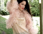 Margaret DeLorca Ostrich Feather Bed Jacket as featured in Vogue silk