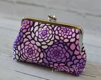 Small Clutch Clasp Cosmetic Purse Modern Japanese Floral Kimono Pattern Purple Frame Bag Cosmetic Bag Gadget Bag M Pouch