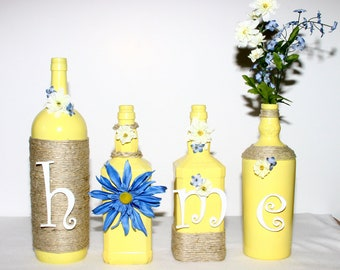 Yellow Decorated Wine Bottles HOME Design Blue Trim Floral Painted Handmade