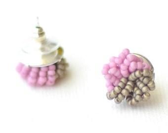 Colorblock Stud Earrings - Purple Gray Cluster Earrings