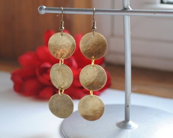 Hammered Brass Metal Earrings Three Circles