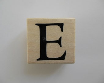 Letter E Stamp - Shades of Sorbet Collection - Wood Mounted Rubber Stamp - Alphabet Letter E Stamp