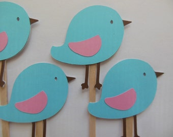 Bird Cupcake Toppers - Aqua and Pink - Girl Birthday Party Decorations - Girl Baby Shower Decorations - Set of 6
