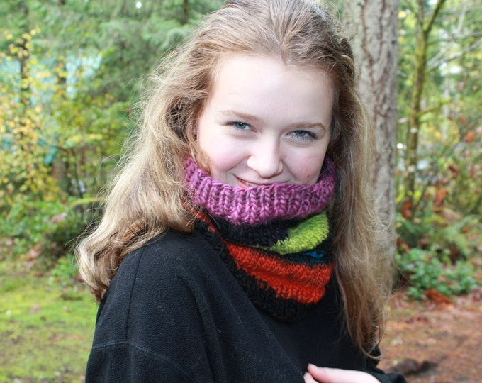 Hand spun and Knit Merino Wool Cowl.  Super Soft. Warm.