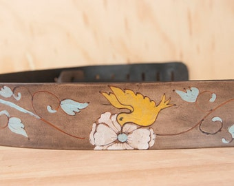 Guitar Strap - Leather Strap for Acoustic or Electric Guitars - Margot Pattern with Hummingbird and Flowers - Yellow, sage and antique black
