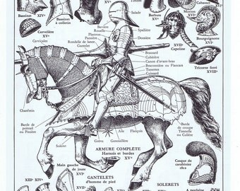 Armory,Knight.Steampunk era.Horse,Vintage.Paris.book page;French.home deco.guy.original.art.paper.eco.christmas.horse.helmut.gift.battle