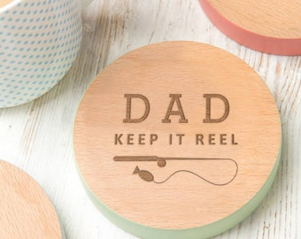 fathers day fishing pun coaster 'Keep It Reel' Father's day fishing gift personalized gift for fathers day - 7 Colours Available!