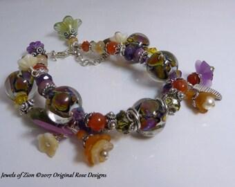Jewels of Zion - Artisan lampwork, sterling silver Gemstone charm bracelet. multi-strand srajd