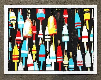 Buoy - Handprinted art print