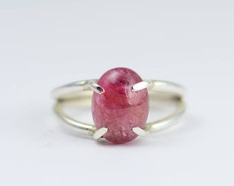 Pink Tourmaline Ring - Pink Gemstone Ring - Dark Pink Gemstone Ring - October Birthstone - Sterling Silver Prong Set Ring - Statement Ring
