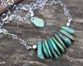 Green Chinese turquoise nugget sterling silver necklace