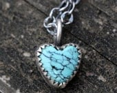 Tiny rustic turquoise heart sterling silver necklace