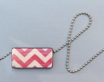 SALE Pink Chevron Pattern Necklace - Bamboo Tile Picture Pendant on a Ball Chain Necklace - Big Sale on All Pendants