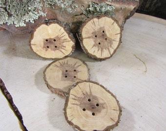 Handmade Sunburst Juniper Wooden buttons- 4 Buttons (4007)